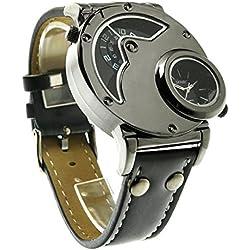 Reloj de cuarzo, diseño de aviador ruso, de muñeca, para hombre, hora dual, color negro