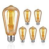 Uchrolls Lampadina LED E27 a Filamento,6W (equivalenti a 60W),700LM,Bianco Calda 2200K (Bagliore Ambra), ST58 Vintage Lampadine a LED, Decorativa Retro Stile con Vite E27, Confezione da 5 Unit