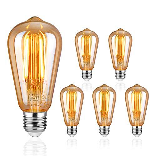 Uchrolls 5er Pack E27 LED Lampe, 700LM, 6W, Ersetzt 60W Halogenlampen, Warmweiß 2200K, Filament Lampe Bernstein Glas, E27 Retro Glühbirne Vintage Antike Glühbirne, Nicht Dimmbar -