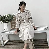 TJOIREJ Abrigos De Mujer AbrigoMujer BlancoDoble Botonadura Cuello Abajo Trench Manga Larga, Gris S