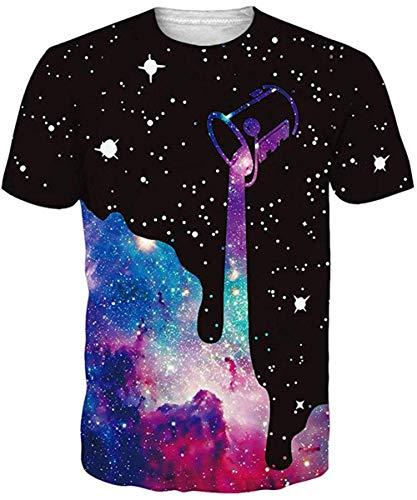 uideazone Herren Bunt T-Shirts Bunt Kurzen Ärmels Kurzarm Bunt Shirt Sport Fitness T-Shirt Rundhalsausschnitt Lässige Milch Graphics Tees