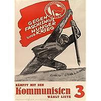 Vintage tedesco Interwar propaganda comunista antifascista azione contro il fascismo. Fame e guerra o comunismo c.1919–33250gsm Lucido Art poster A3di riproduzione