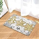 fdswdfg221 Sfondo Bianco, Pentagramma di Pino Giallo e Fiocchi di neveAccessori per tappetini da Bagno 3D con Stampa Digitale