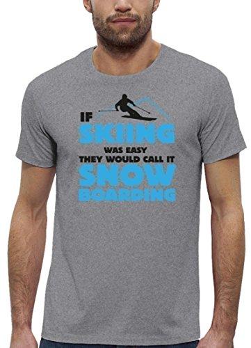 Wintersport Premium Herren T-Shirt aus Bio Baumwolle If Skiing Was Easy Stanley Stella Heather Grey
