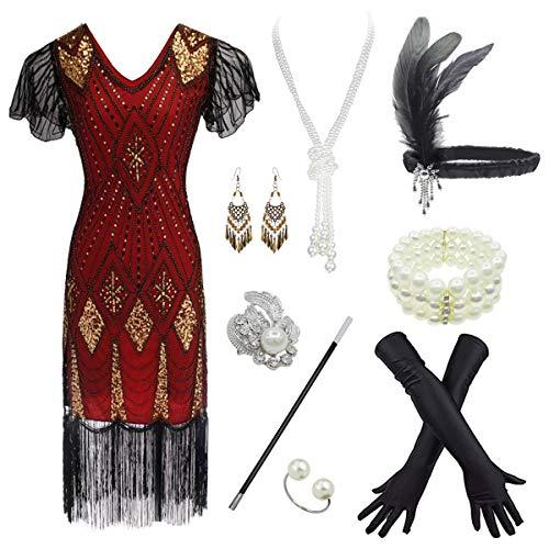 8IGHTEEN COSTUME Damen 1920er Jahre Gatsby inspiriert Pailletten Perlen Lange Fransen Flapper Kleid w/Zubehör Set (XL, (Vintage Inspirierte Ringe Kostüm)