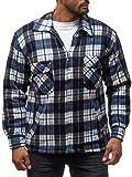 Herren Fleece Jacke Holzfäller Hemd Thermo Flanell Sweat Shirt H2070, Farben:Grau-Blau, Größe Jacken:XXL