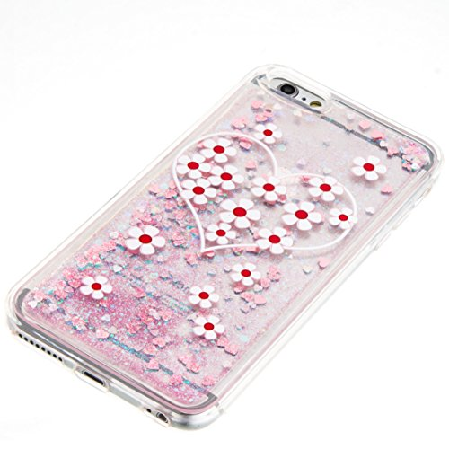 For iPhone 6 PLUS 5.5[CUTE SPARKLING]Novelty Creative Liquid Glitter Design Liquid Quicksand Bling Adorable Flowing Floating Moving Shine Glitter Case -GOLD EIFFEL PINK DAISY