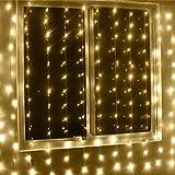 LED Lichtervorhang Lichterkette,KINGCOO 3m x 6m 600LEDs Vorhang Licht Fenster Eiszapfen Licht Dekorative Fairy Schnur Lichter Mit 8 Modi für Innen Party Hochzeit Decoration Garden Weihnacht (Warmweiß)
