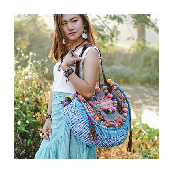 Changnoi Unique Women's Half Moon Shoulder Bag with Leather Strap, Beach Bag with Pom Pom, One of a Kind Hmong Bag, Bohemian Bag - handmade-bags