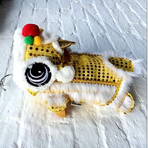 WORDERFUL Hundekostüm, süßes Löwentanz-Kostüm mit roten Pailletten für Neujahr, Katze, Hunde, Kapuzenjacke, Mantel für kleine Hunde, 10, gelb