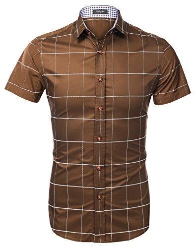 Aulei Hemd Herren Karohemd Shirt Kurzarm Slim Fit Hemden Männer Freizeit Tops Oberhemd Braun