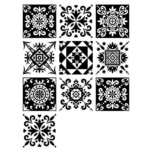 Stil Backsplash (10PCS Tile Sticker Selbstklebende Wasserdichte Detachable Sticker European Black and White Pattern Simulation Tile Mosaic Style Tile Stile Aufkleber Aufkleber,20 * 20CM)