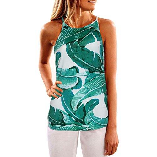 SHOBDW Frauen Sommer Gedruckt Weste Lose Florales Tuch Oberseiten Blusen O-Ansatz ärmelloses Shirt Bluse Lässig Tank Tops T Shirt (M, Grün) (Schiere Floral Wrap)