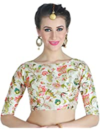 d3950f620c77e4 Studio Shringaar Women s Poly Silk Digital Printed Blouse with Boat Neck