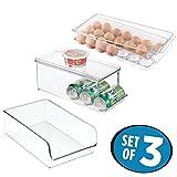mDesign Set da 3 Contenitori per frigorifero – Portauova e porta lattine con coperchio, porta alimenti aperto – Salvaspazio cucina e dispensa in robusta plastica – trasparente