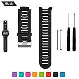 Bemodst Garmin Forerunner 910 XT Bracelet de remplacement, bracelet respirable de montre-bracelet de silicone avec des outils de retrait, noir