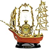 Majik New Arrival Ship Lamp With Clock, Table Lamps With Clock For Home Decor, Centre Table, Showpiece Items, Return Gift Item, Golden, Pack Of 1