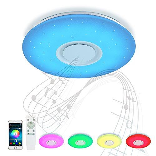 Bluetooth Deckenleuchte Umgebungslicht 24W ⌀40 CM mit Fernbedienung APP-Steuerung und Bluetooth Lautsprecher Klar Hohes und niedriges Volumen für Party,Wohnzimmer, Schlafzimmer JD830Y-24W-LY