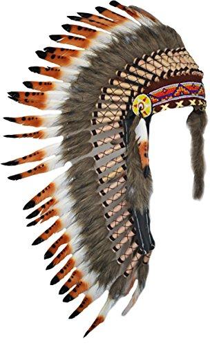Kostüme Halloween Amerika (Y18 bereit für Halloween. Medium drei Farben Braun, Feder-Kopfschmuck (36 Zoll lang). Stil der Ureinwohner)