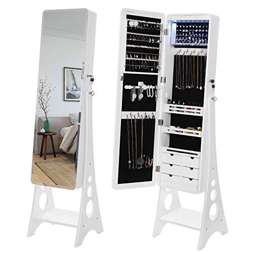 SONGMICS Schmuckschrank mit 8 LEDs mit abgerundeten Kanten, Spiegel, abschließbarer Schmuckorganizer mit 6 Schubladen und Ohrring Aufbewahrung, Weiß JBC89WT - 2