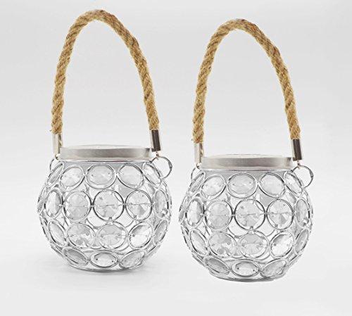 SkaizeTM Solarleuchte Mosaik LED Deko Tischlampe mit Seilhänger für Garten, Balkon, Terasse - 2er Pack