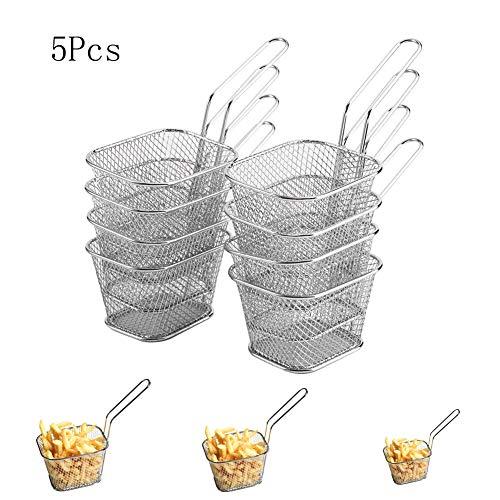 Fry Basket - BESTGIFT 5/10 Pz In Acciaio Inox Friggio Canestro Maglia Francese Chip Frittura Servire Presentazione di Cibo Strainer Net Potato Strumento di Cottura (5Pcs)