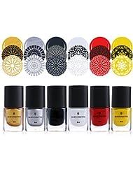 Born Pretty 6 Bottles 6ml Stamping Polish Nail Art Varnish Nail Plate Printing Polish #1-6