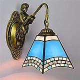 Aussenlampe Wandbeleuchtung Wandlampe Wandleuchte Innen Moderne Einfache Glasmalerei Kunst Wandlampe, Blaue Mediterrane Design Wandleuchten Für Wohnzimmer Schlafzimmer Flur Badezimmer B