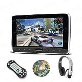 XTRONS® 10 Zoll Tragbarer Auto DVD Player Kopfstütze HD Display 1024*600 FM/IR Transmitter und SD USB HDMI Slot mit 1 weiß Kopfhörer
