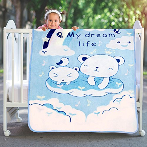 A Homes Grace Sky Blue Soft Kids Blanket