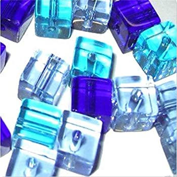 Cube Beads A3009 100 pieces 4mm Crystal Glass Square GREY