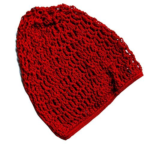 Snood / Crocheted Hair Net (Red) by CoverYourHair (Crocheted Net Hair)