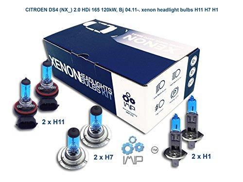 IMIP - CITROEN DS4 (NX_) 2.0 HDi 165 | Kit d'ampoules de phares au Xenon Super Blanc H11 H7 H1