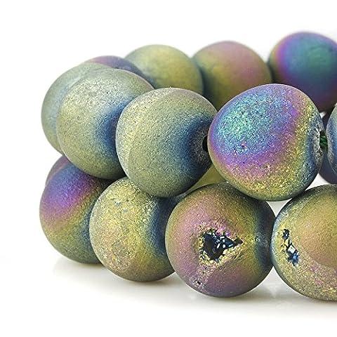 Rubyca rond teints électroplaquée Druzy Agate Pierre précieuse de cristal de quartz Perles, Couleur arc-en-ciel, 12 mm