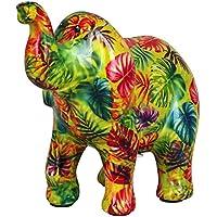 Pomme Pidou Hucha Elefante Zara | Hucha Elefante Original en Cerámica | Verde con Hojas de