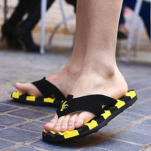 Xing Lin Sandales Pour Hommes Piscine DÉté Et Sandales Pour Hommes Chaussons Tongs Sandales Marée Massage Friction yellow