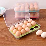 Kihika Egg Storage Box Container with 15 Grid Egg Tray