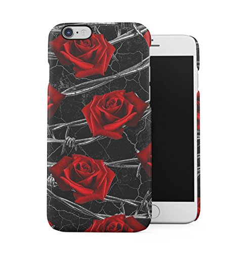 Black Cracked Marble Stone Print Apple iPhone 6 , iPhone 6S Snap-On Hard Plastic Protective Shell Case Cover Custodia Rose On Wire