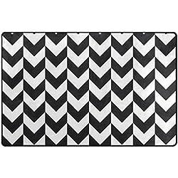 Bennigiry Chevrons Bereich Teppich Teppich Rutschfeste Eintrag Bodenmatte Fußmatten für Wohnzimmer Schlafzimmer 152,4 x 358 cm
