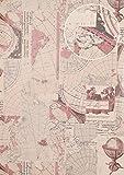 Grafik Tapete Atlas SIG-586-4 Vliestapete glatt im maritimen Design schimmernd grau alt-rosa umbra-grau grau-weiß 5,33 m2
