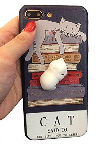 Preisvergleich Produktbild 3D Katze Anti Stress Case Weiche Silikon Cartoon Handyhülle Entspannung Schutzhülle Stressentlastung Figer Pinch Case Tier Silikon Dekompression Handy Hülle für iPhone 6/6S 6plus 6S plus 7 7plus (Für iPhone 7, Katze 1)