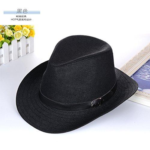 DMXY-Sir Hat Hat Chapeau paille chapeau chapeaux de plage pour les hommes et les femmes à l'extérieur en été Hat chapeau de soleil Black