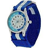 Reflex Kinder Zeitlernuhr blaues & weißes Klett Stoffarmband REFK0001