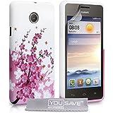 Yousave Accessories Huawei Ascend Y330 Hülle Rosa Blumen Biene Silikon Schutzhülle