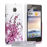 Yousave Accessories Huawei Ascend Y330 Hülle Rosa Blumen