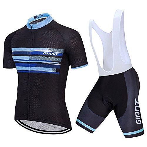 G-W-J Herren/Damen Radtrikot Half Sleeve Racing Team Atmungsaktive Biking Top + Fahrrad Reithose Shorts Gesetzt,White,S