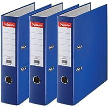 Esselte Lot de 3 Classeurs à Levier, pour l'Archivage, Couverture Plastique, A4, Dos 5,0cm, Bleu, N°1 Power, 624291