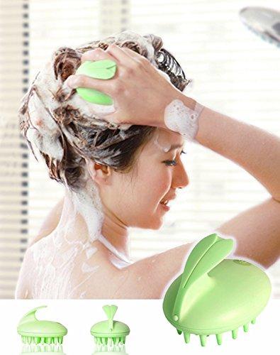 XJoel ilicone Elektrische Wasserdichtes Kaninchen HauptMassager Shampoo Massage-Kamm-Massage-Bürsten-Kopfmassagekopf Haarpflege vibrierender Bürste Grün