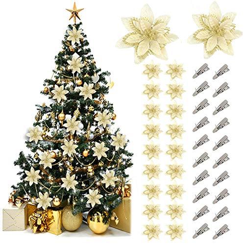 Fansport 20pcs glitter oro fiore artificiale fiori di albero di natale ornamento di decorazione con 20 morsetti - 13cm(5.12in)