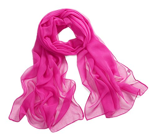 �hling Sommer Chiffon Schal Strand Schals Halstuch Stola Bolero Hot Pink (Hot Pink Schal)